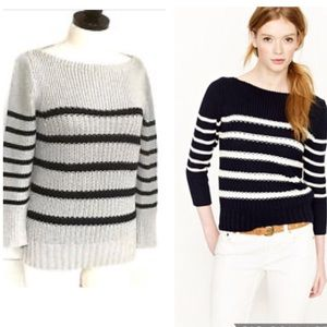 EUC J. Crew Ripple Stitch Striped Cotton Sweater
